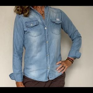 7 For All Mankind Long Sleeve Chambray Button Top